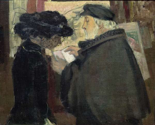 Edgar Degas (1834-1917) with his Model, c.1904 (oil on canvas)