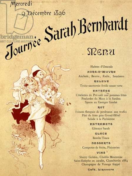 Mercredi 9 decembre 1896, Journee Sarah Bernhardt, Menu Card, 1896 (colour litho) (see also 245010)