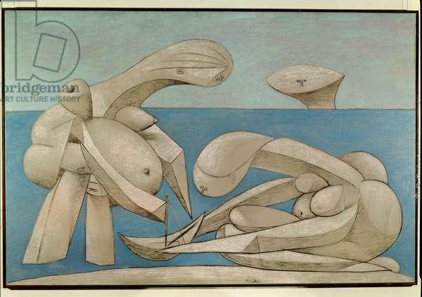 On the Beach (La Baignade) 1937 (oil, pastel & crayon on canvas)