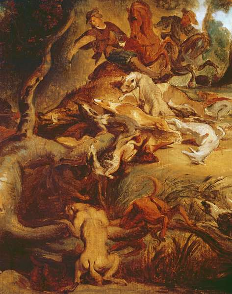 Detail of The Wild Boar Hunt, after a painting by Rubens, c.1840-50 (oil on canvas) (see 203232)