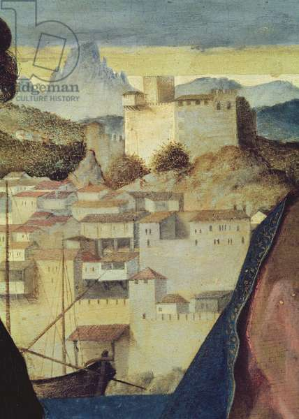 Virgin and Child between Saint John the Baptist and a female saint, detail of the landscape behind, c.1504 (oil on panel) (detail of 161539)