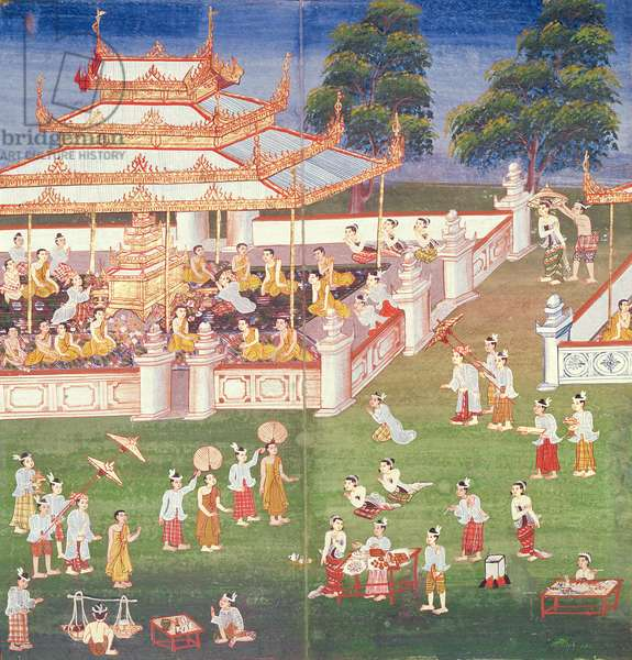 Ma 565 Monks at their annual meeting in June in Mandalay, from the Nimi Jataka, 1869 (gouache on paper)