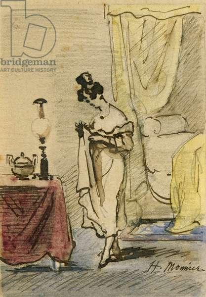 Young Lady at Home (ink & w/c on paper) 2:Jeune fille dans un interieur; intimite;