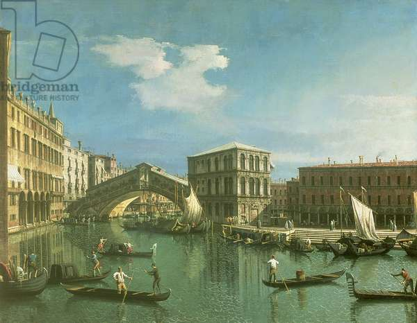 The Rialto Bridge, Venice (oil on canvas)