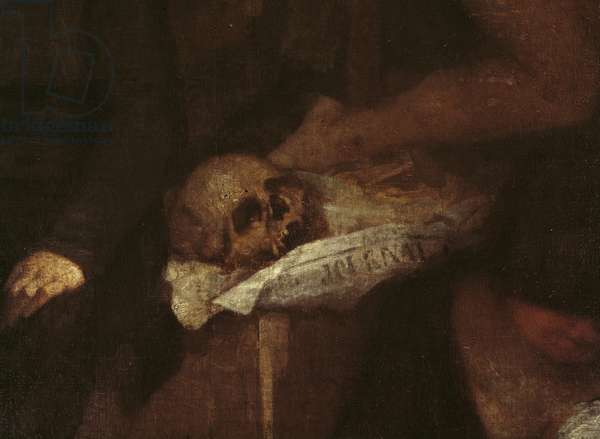 The Artist's Studio (detail of the skull resting on some newspapers), 1854-1855 (oil on canvas)