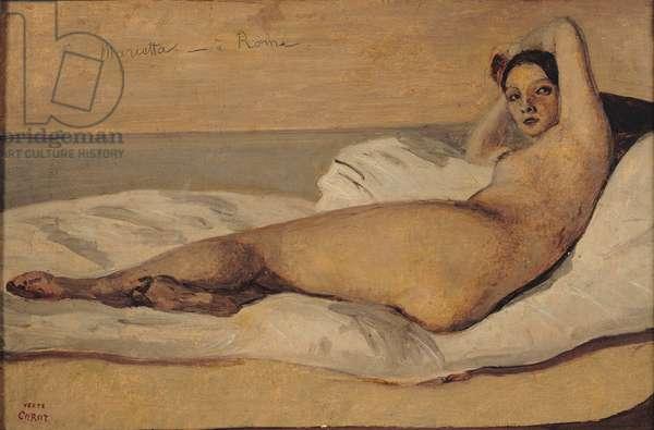 The Roman Odalisque (Marietta) 1843 (oil & pencil on paper)