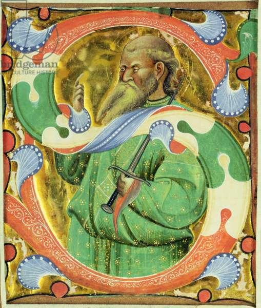 Historiated initial 'S' depicting St. Paul (vellum)