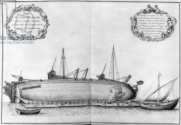 Outside of a vessel lying on its hull, illustration from the 'Atlas de Colbert', plate 41 (pencil & w/c on paper)