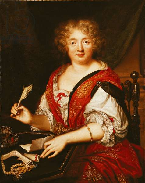 Portrait of Madame de Sevigne Writing (oil on canvas)