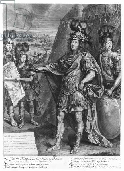Louis XIV giving orders to fortify the borders (engraving)
