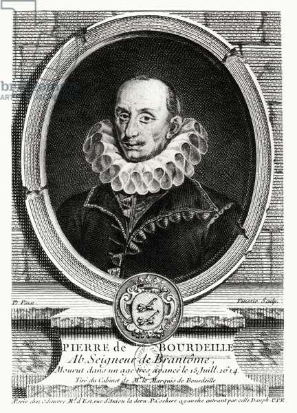Medallion portrait of Pierre de Bourdeille (1540-1614) Abbot of Brantome (engraving) (b/w photo)