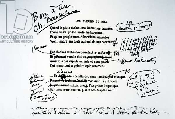 Corrected proof of 'Les Fleurs du Mal' (pen & ink on paper) (b/w photo)