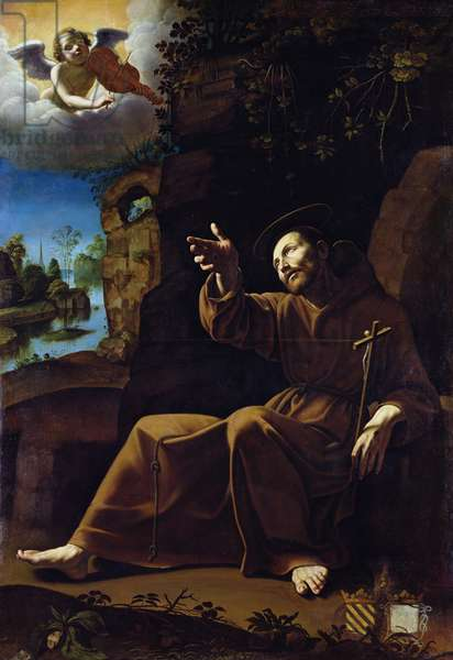 St. Francis of Assisi Consoled by an Angel Musician (oil on canvas)