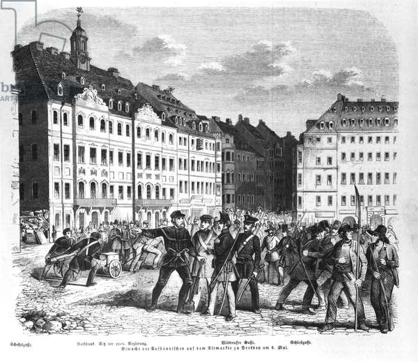 Uprising in Dresden on 6th March 1848, illustration from 'Illustrierte Zeitung' (engraving) (b/w photo)