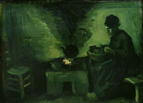 Peasant Woman by the Hearth, c.1885 (oil on canvas laid on board)