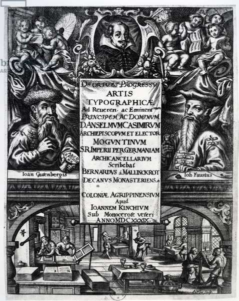 Frontispiece to 'On the Origin and History of Typography' by Bernardus Mallinckrodt, 1634 (engraving) (b/w photo)
