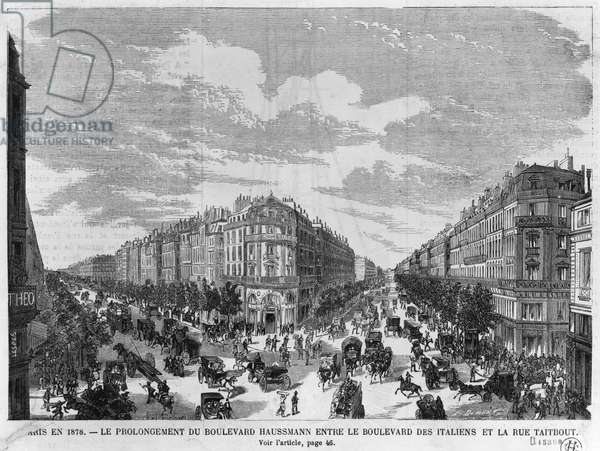 Paris in 1878, Boulevard Haussmann extended between Boulevard des Italiens and rue Taitbout, engraved by Louis Dumont (b.1822) late 19th century (engraving) (b/w photo)