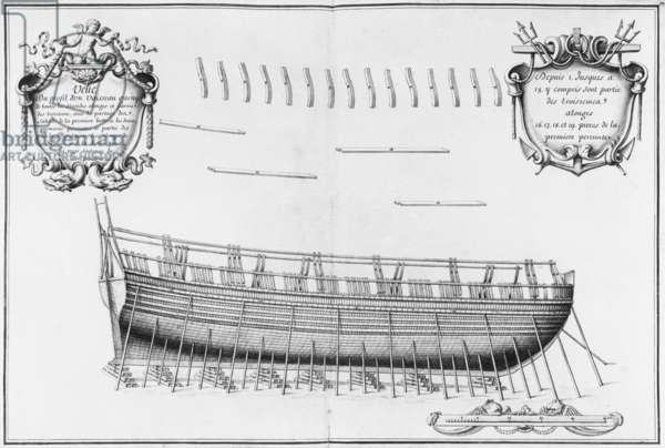 Profile of a vessel, illustration from the 'Atlas de Colbert', plate 22 (pencil & w/c on paper) (b/w photo)