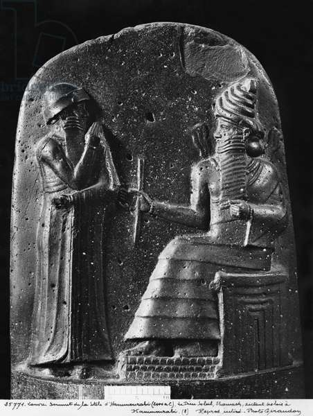 Code of Hammurabi, top of the stele, the god Shamash dictating his laws to Hammurabi, King of Babylon, found at Susa, c.1750 BC (basalt) (see also 286949, 286950) (b/w photo)