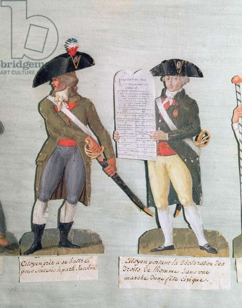 A Citizen Ready to Fight and a Citizen Carrying the Declaration of the Rights of Man (gouache on card)