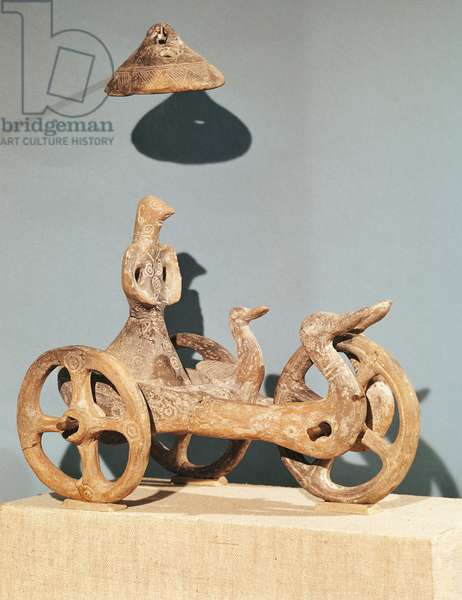 Votive chariot with an anthropomorphic divinity, from Dupljaja (clay)