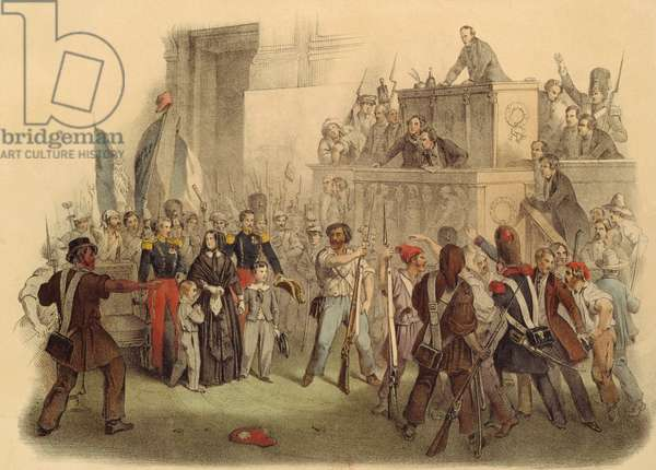 The Masses at the Chamber of Deputies, 24th February 1848 (coloured engraving)