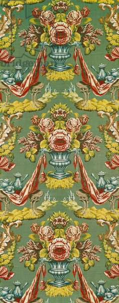 Textile with a repeating floral motif, Lyon workshop, c.1730 (silk brocade)