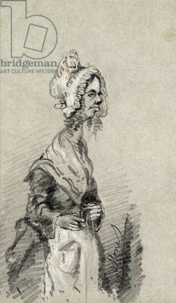 Old Woman from Normandy in Profile, 1857 (pencil on paper)