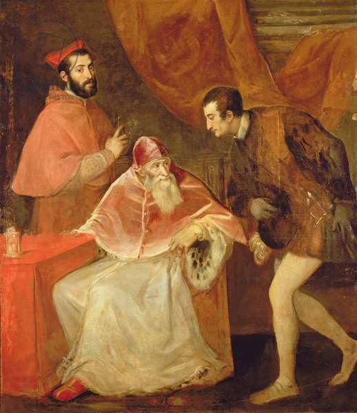 Pope Paul III (1468-1549) and his Nephews, 1545  (oil on canvas)