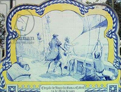 Azulejos tiles depicting Vasco da Gama (c.1469-1525) Landing in Calicut in 1489, from the public bank (ceramic)