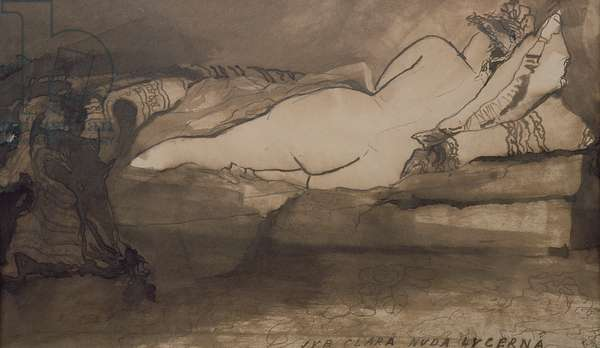Sleeping Nude (pen & ink and wash on paper)