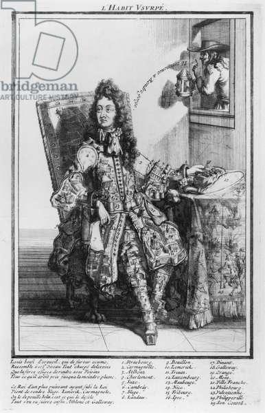 Satirical cartoon lampooning Louis XIV, 1693-1705 (engraving)
