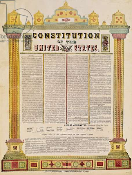 The Constitution of the United States of America (coloured engraving)