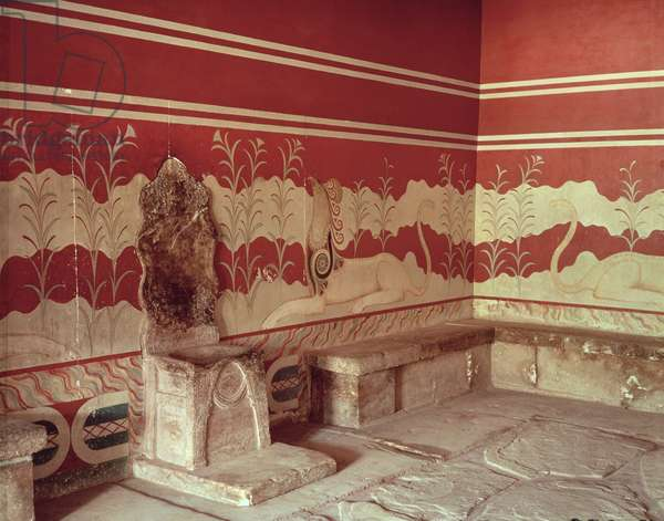 The Throne Room of Minos, 1500-1400 BC (photo)