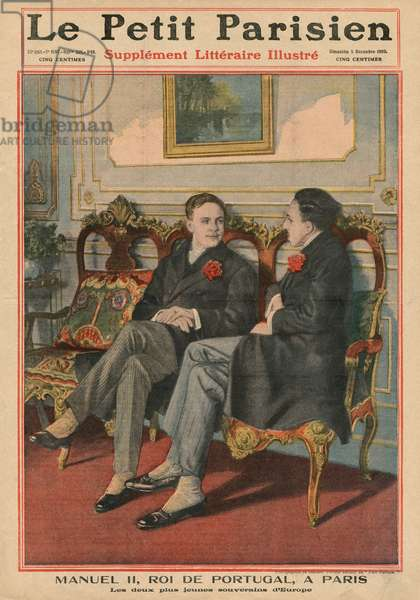 Manuel II, King of Portugal, in Paris with Alfonso XIII, King of Spain, the two youngest sovereigns in Europe, front cover illustration from 'Le Petit Parisien', supplemnet litteraire illustre, 5th December 1909 (photolitho)