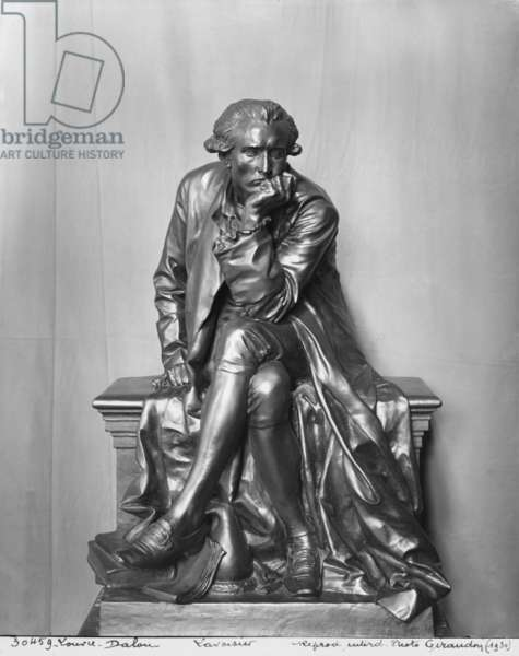 Antoine Laurent Lavoisier (bronze) (b/w photo)