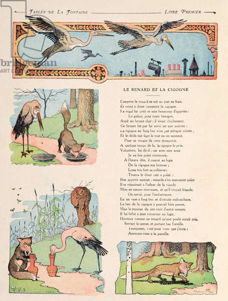 The Stork and the Fox, from the 'Fables' by Jean de la Fontaine (1621-95) 1906 (colour litho)