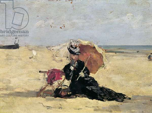 Woman with a Parasol on the Beach, 1880 (oil on canvas)