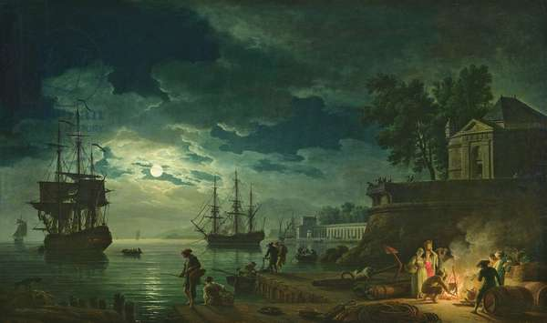 Night: A Port in the Moonlight, 1748 (oil on canvas)