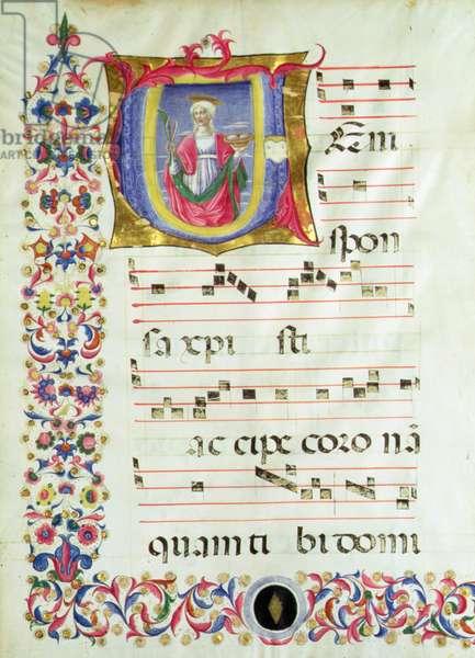 Historiated initial 'V' depicting St. Agatha (vellum)