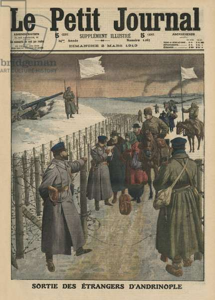 Foreigners coming out of Andrinople, front cover illustration from 'Le Petit Journal', supplement illustre, 2nd March 1913 (colour litho)
