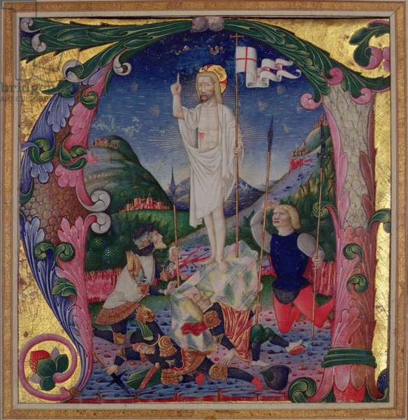 Historiated initial 'A' depicting the Resurrection of Christ, Lombardy School (vellum)