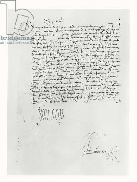 Letter from Francis I of France to the Parlement of Bordeaux, 1529 (pen & ink on paper)