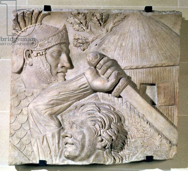 Relief depicting a Barbarian fighting a Roman legionary (stone)