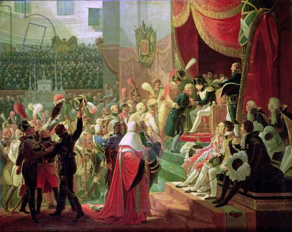 The First Distribution of Crosses of the Legion of Honour in the Church of the Invalides, 14th July 1804, 1812 (oil on canvas)