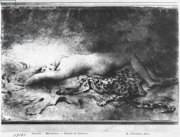 Naked young girl lying on an animal skin (stump & black pencil on paper) (b/w photo)