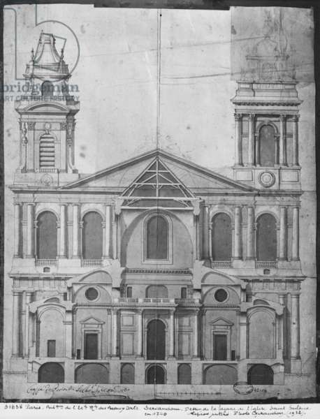 Church of Saint-Sulpice, elevation of the facade, Paris, 1740 (engraving) (b/w photo)
