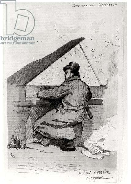 Alexis Emmanuel Chabrier (1841-94) at the piano, engraved by Florian (engraving) (b/w photo) (see also 165875)
