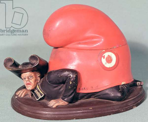 An inkwell or tobacco pot in the form of a priest crushed by a phrygian bonnet, 1870 (ceramic)
