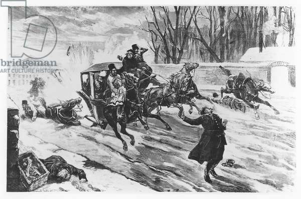 Alexander II assassinated in St Petersburg, 13 March 1881 (litho)